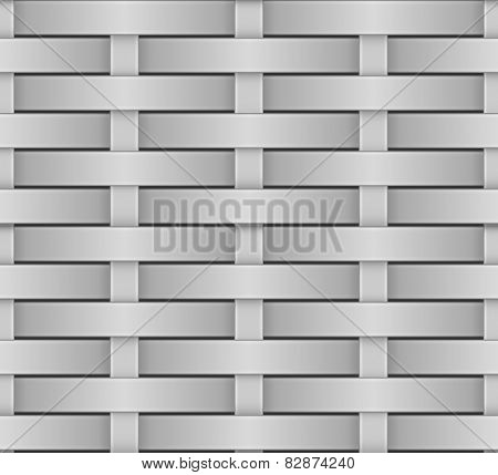 Wicker seamless pattern grey scale vector texture.
