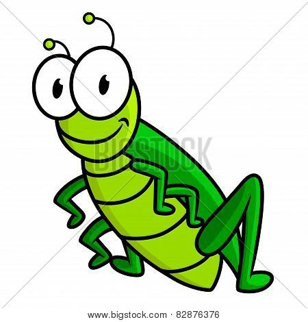 Cartoon funny green grasshopper character