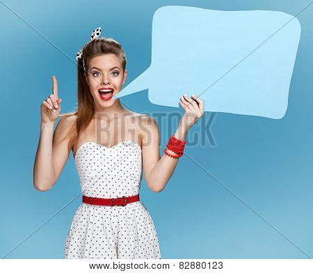 Conversable beautiful woman showing sign speech bubble banner looking happy excited