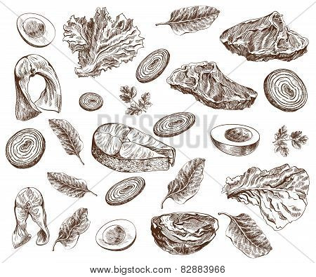 foodstuffs set of hand drawn vector sketches on a white background poster
