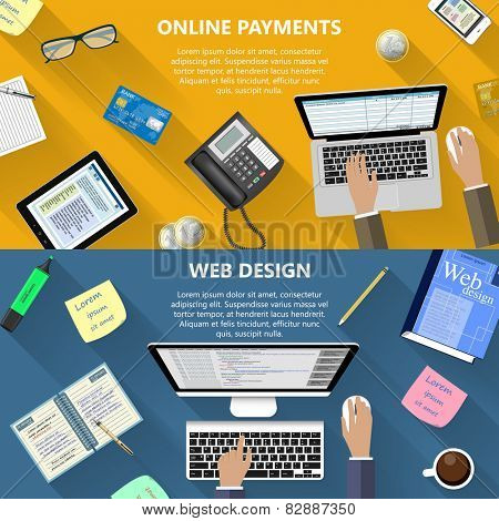 Modern flat design web design and online payments concept for e-business, web sites, mobile applications, banners, corporate brochures, book covers, layouts etc. Vector eps10 illustration