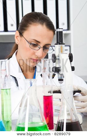 young female science researcher