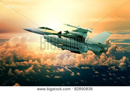 military jet plane with missile weapon flying against sunset sky use for world battle and political conflict in middle east poster