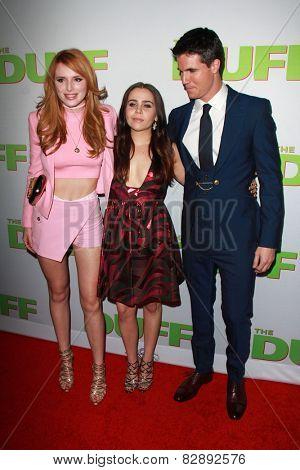 LOS ANGELES - FEB 12:  Bella Thorne, Mae Whitman, Robbie Amell at the