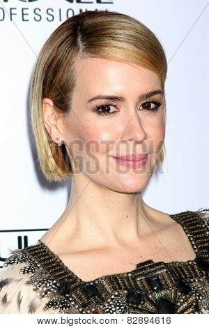 LOS ANGELES - FEB 14:  Sarah Paulson at the 2015 Make-up and Hair Stylists Guild Awards at a Paramount Theater on February 14, 2015 in Los Angeles, CA
