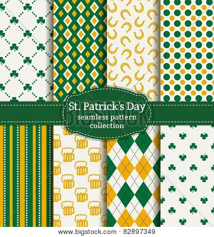 Happy St. Patrick's Day! Set Of Vector Seamless Patterns.