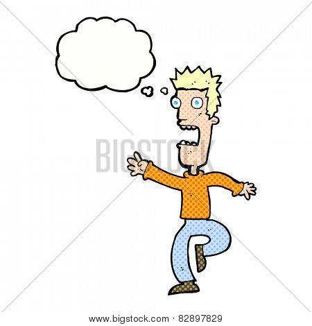 cartoon shrieking man with thought bubble
