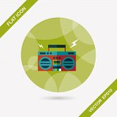 Ghetto Blaster Audio Flat Icon With Long Shadow,eps10, stylish colors of vector illustration. poster
