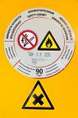 Sticker on safety cabinet for chemicals in chemistry lab poster