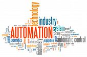 Automation industry issues and concepts word cloud illustration. Word collage concept. poster