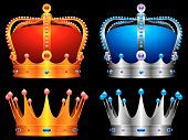 Golden and silver crowns decorated with jewels. poster