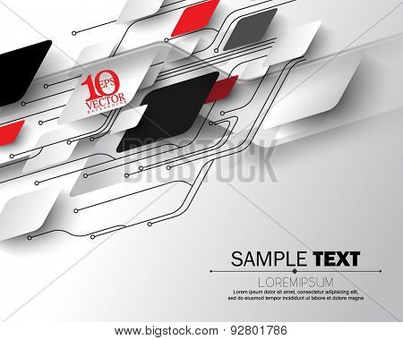 eps10 vector abstract circuit board geometric shapes overlapping science electronics elements concept background