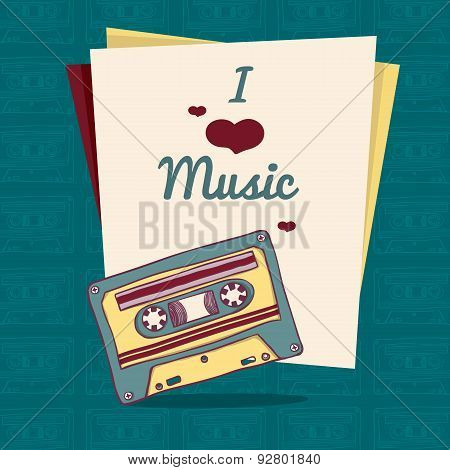 Invitation template or poster in retro style with retro audio cassette. Place for your text. vector