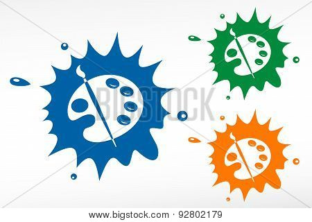 Color palette and artistic brush. Vector color blob poster