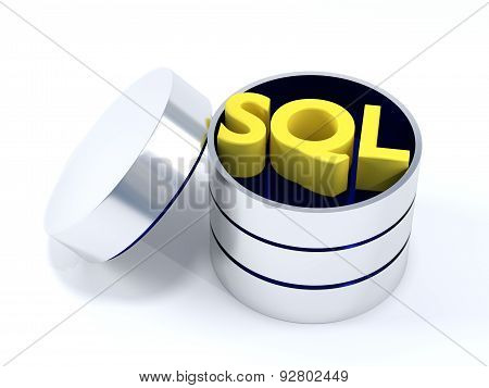 A SQL Database opened containing the word SQL. poster