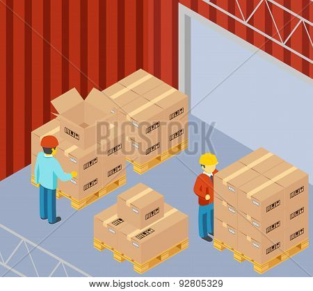 Warehouse with cardboard boxes on pallets