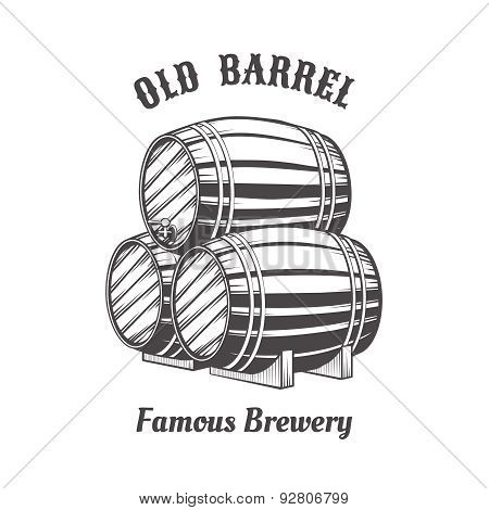 Logo design with wooden beer barrels for pab