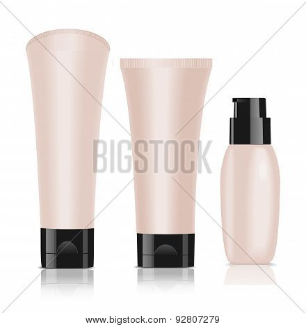 Three Blank Cosmetic Containers. Foundation Cream.