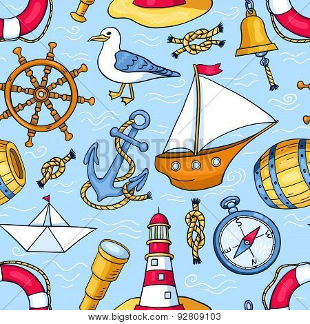 Seamless Pattern With Sea Objects