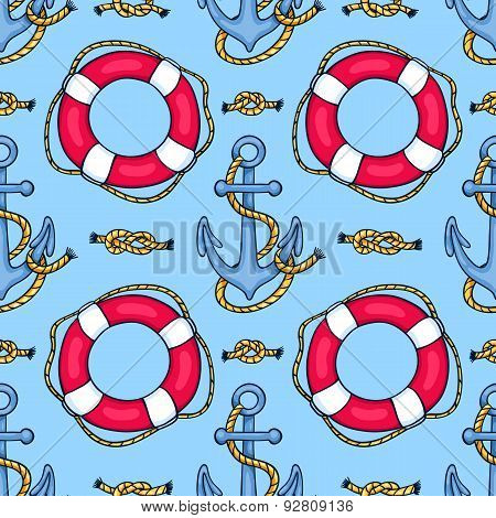 Seamless Pattern With Lifebuoys And Anchors
