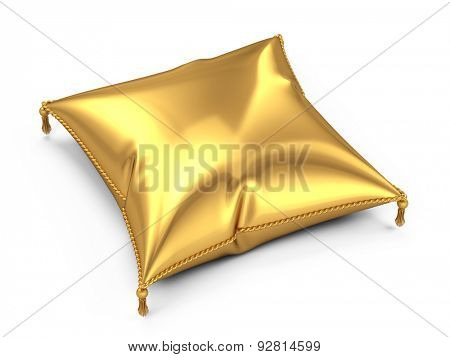 Golden pillow isolated on white background