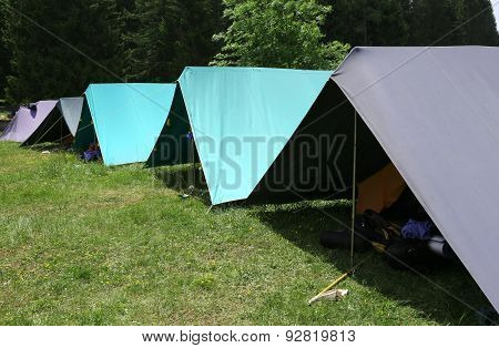 Row Of Tents In The Summer Camp Of The Boyscout