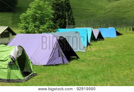 Long Row Of Tents To Sleep During The Summer Camp