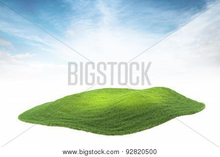 Island Piece Of Land Or Island Floating In The Air On Sky Background