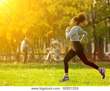 African American Woman Running Outdoors