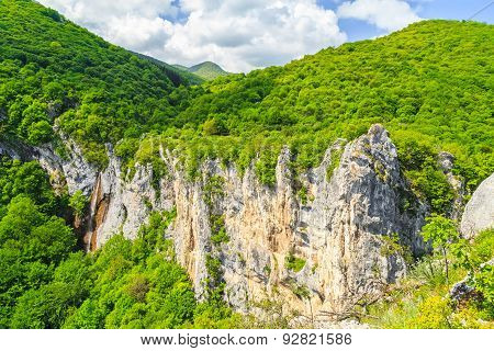 Beautiful waterfall in Vratsa Balkan Mountains named the Female water Bulgaria.** Note: Soft Focus at 100%, best at smaller sizes poster