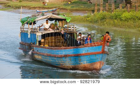 River Transportation At The Rakhine State In Myanmar