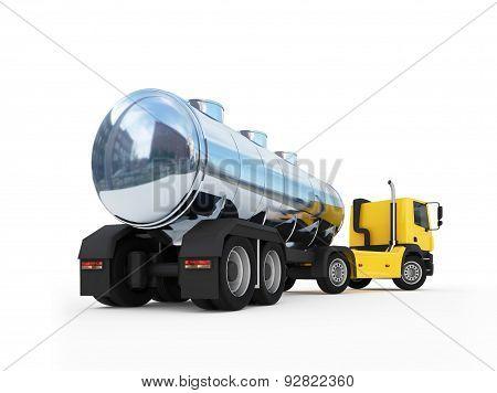 Cistern Of Big Orange Fuel Tanker Truck