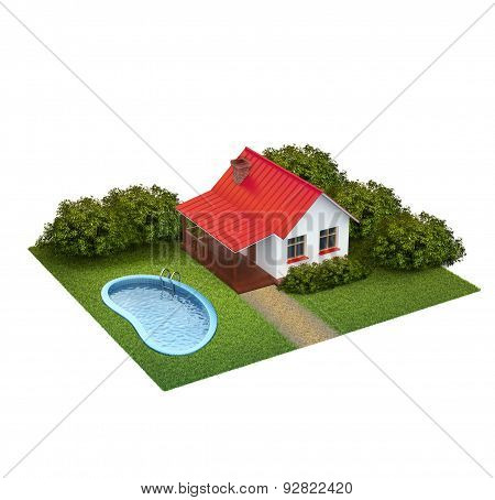 A Piece Of Land With Lawn With House, Bushes And Swimming Pool