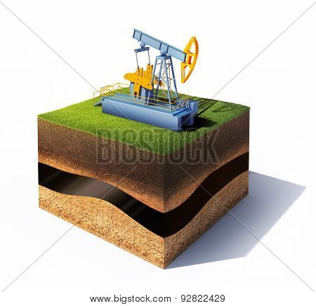 cross section of ground with grass and oil pump jack isolated on white