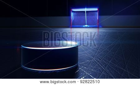 Hockey Ice Rink, Puck And Goal