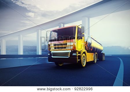 Orange truck with oil cistern on asphalt road highway - transportation background