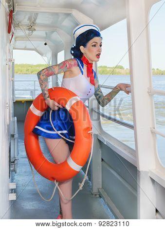 sailor with a lifeline