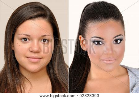 A set of  two portraits of the same teenage girl, one before and the other after applying make-up poster