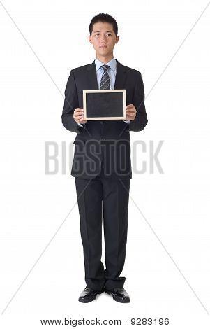 Business Man Holding Blank Blackboard