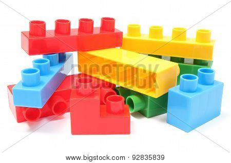 Colorful Building Blocks For Children On White Background