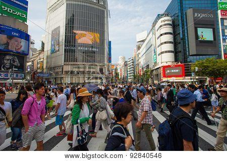 Pedestrians at Shibuya crossing