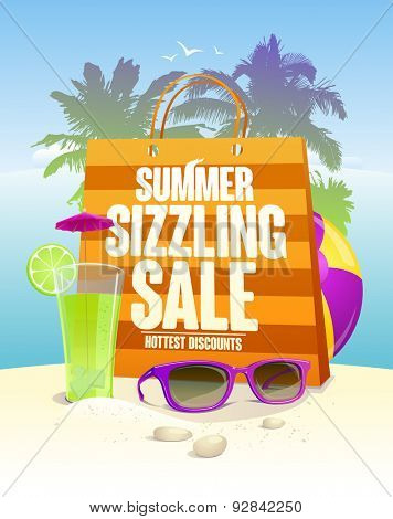 Hottest summer sizzling sale design with shopping bag on a beach backdrop with palms, cocktail and sun glasses, eps10.