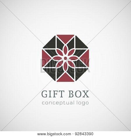 Gift box logo isolated on white illustration.