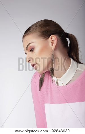 Sentimental Dreamy Woman In Pink Blouse