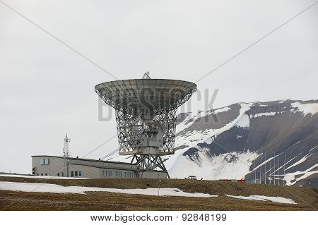 Exterior of the satellite antenna in Longyearbyen, Norway.
