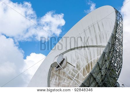 Partial View Of A Satellite Dish For Use Of Intercontinental Telecommunications And Internet Traffic