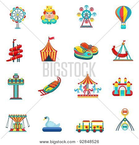 Amusement park for children with attractions and fun icons set flat isolated vector illustration poster
