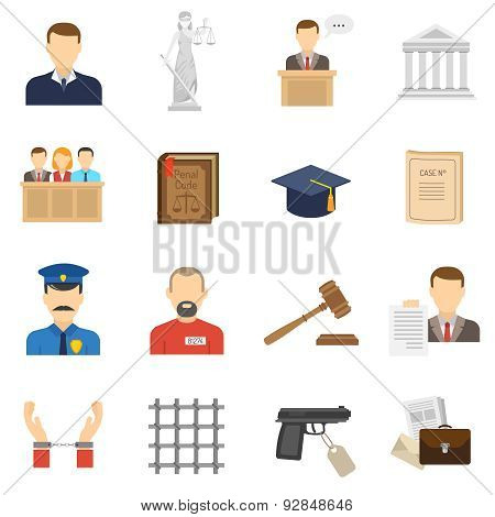 Justice flat icons set