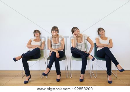 Young woman in waiting room being impatient