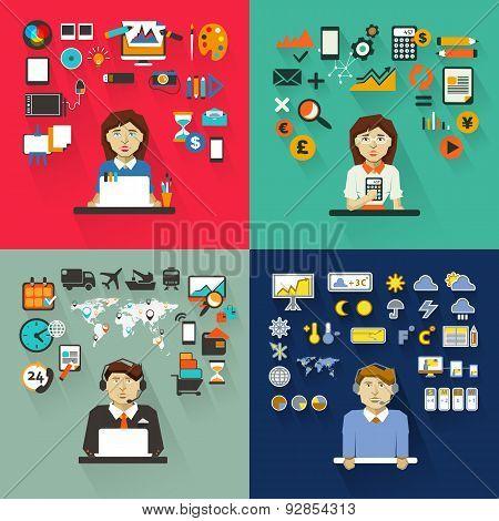 Set Of Professions. Graphic Designer, Accountant, Logistics Mana